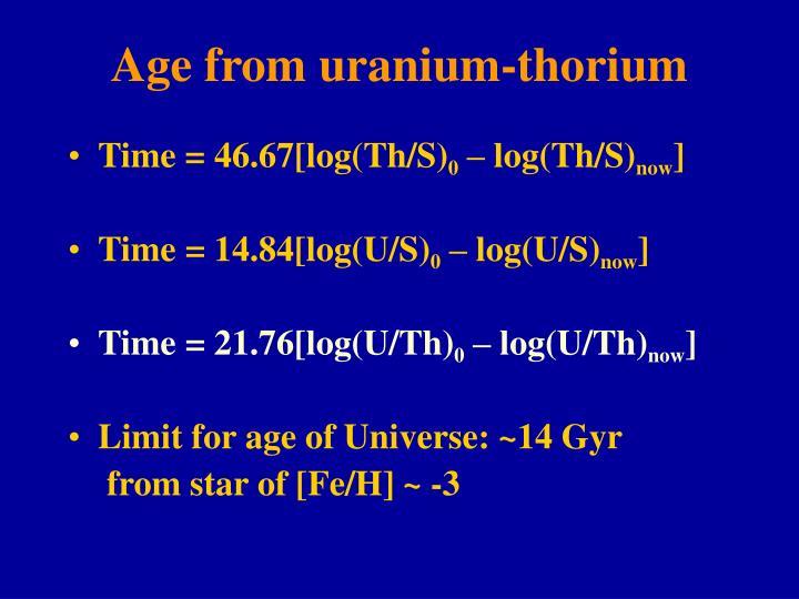Age from uranium-thorium