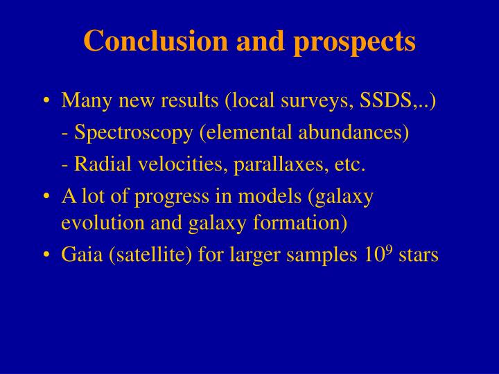 Conclusion and prospects