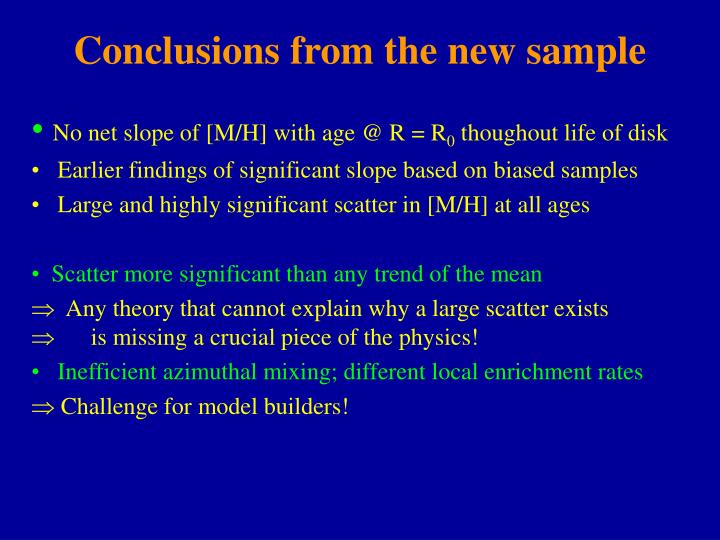 Conclusions from the new sample