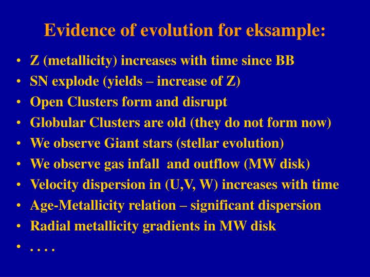 Evidence of evolution for eksample: