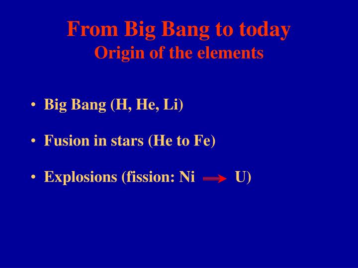 From Big Bang to today