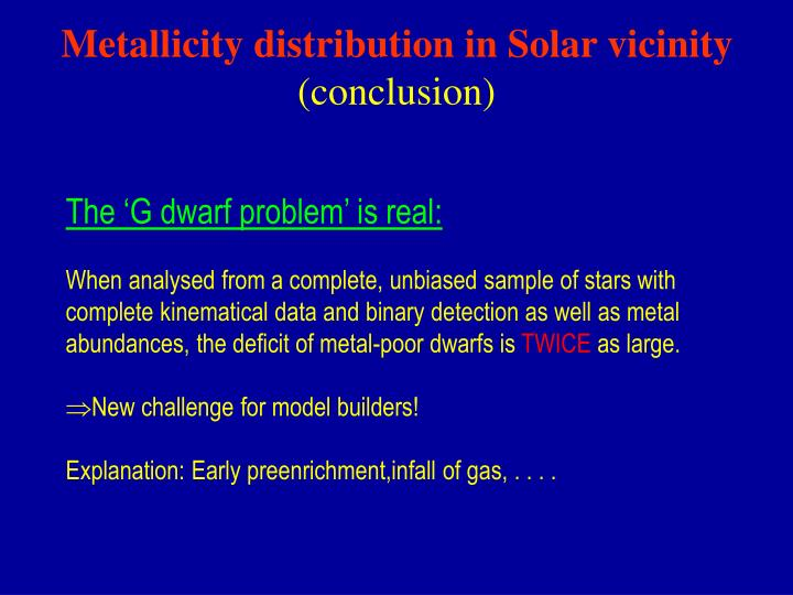 Metallicity distribution in Solar vicinity