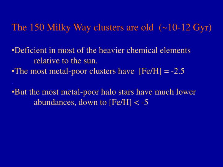 The 150 Milky Way clusters are old  (~10-12 Gyr)