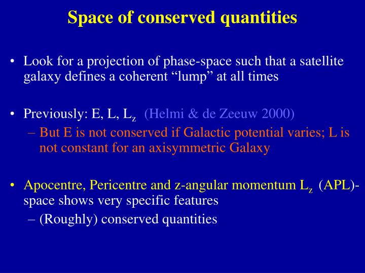 Space of conserved quantities