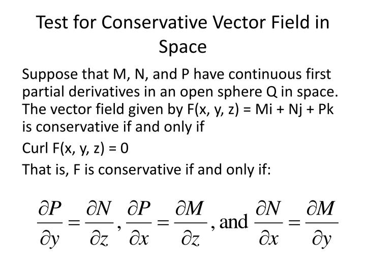 Test for Conservative Vector Field in Space
