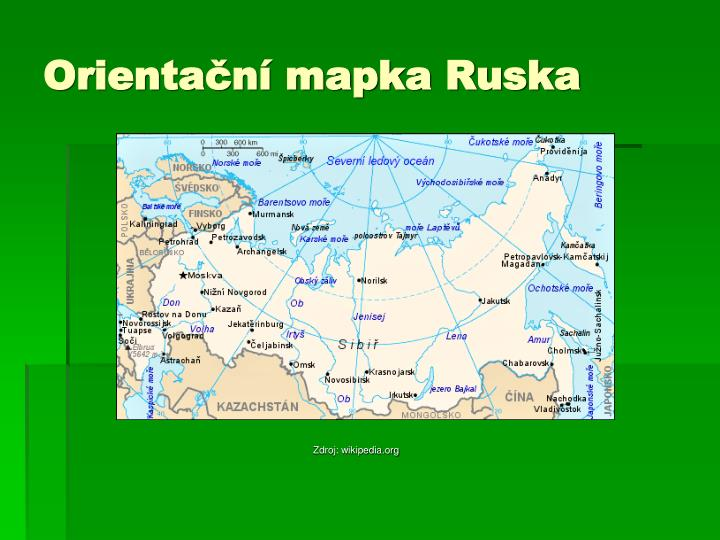 Orientační mapka Ruska