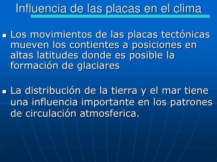 Influencia de las placas en el clima