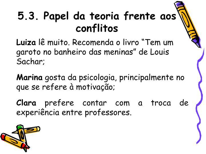 5.3. Papel da teoria frente aos conflitos