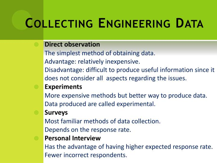 Collecting Engineering Data