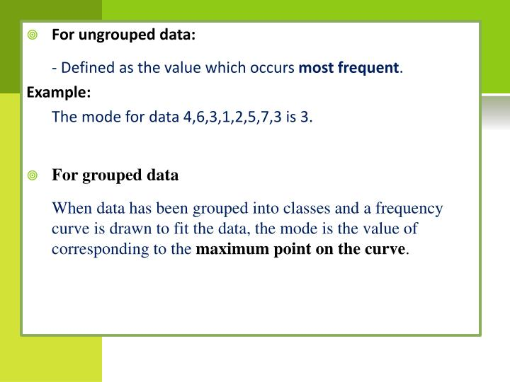 For ungrouped data: