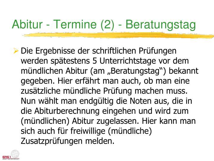 Abitur - Termine (2) - Beratungstag