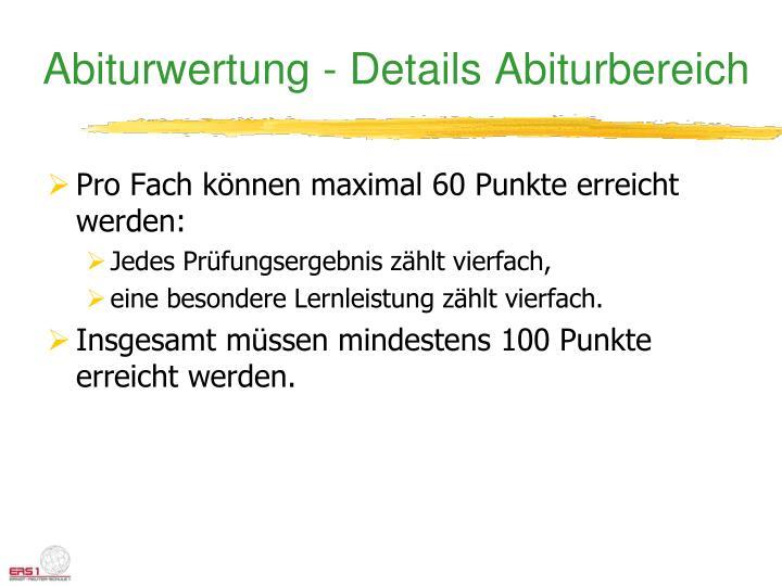 Abiturwertung - Details Abiturbereich