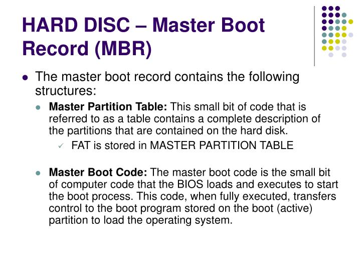 HARD DISC – Master Boot Record (MBR)