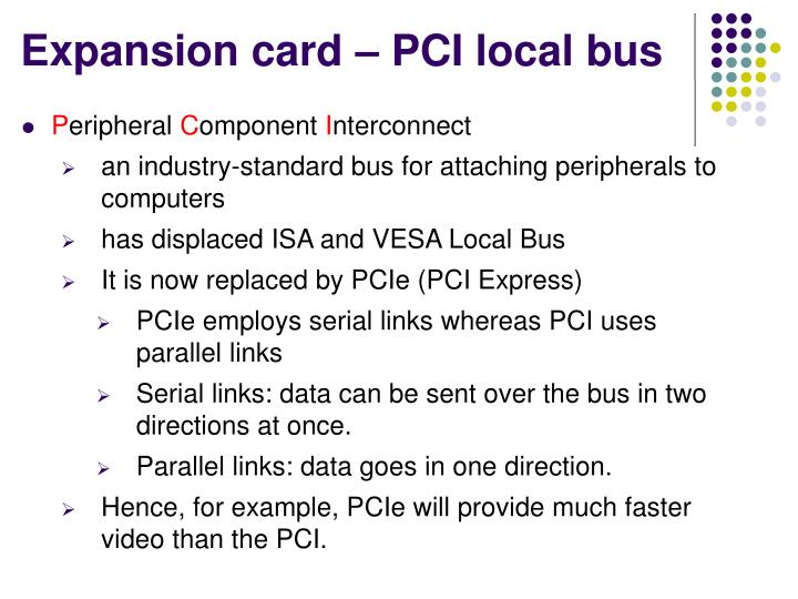Expansion card – PCI local bus