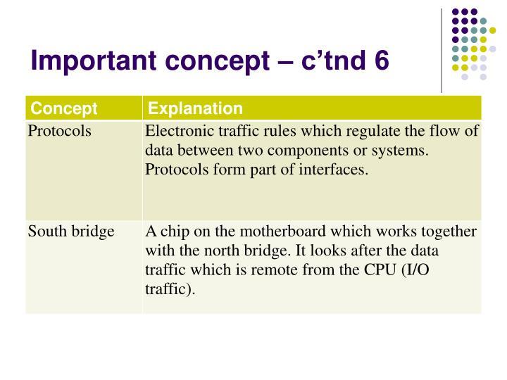 Important concept – c'tnd 6