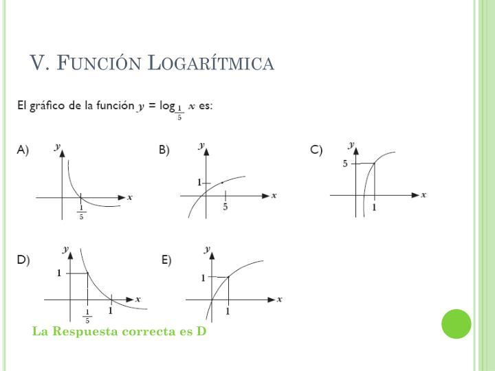 V. Función Logarítmica