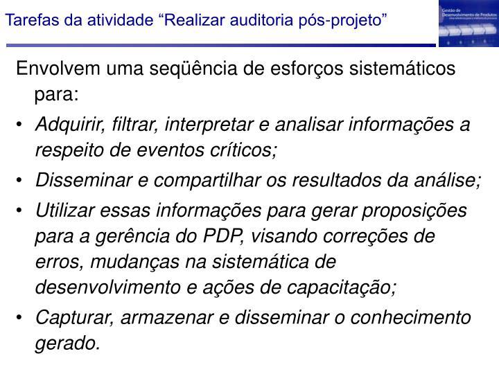 """Tarefas da atividade """"Realizar auditoria pós-projeto"""""""