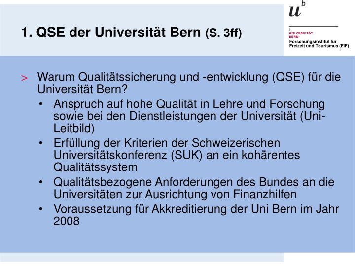 1. QSE der Universität Bern