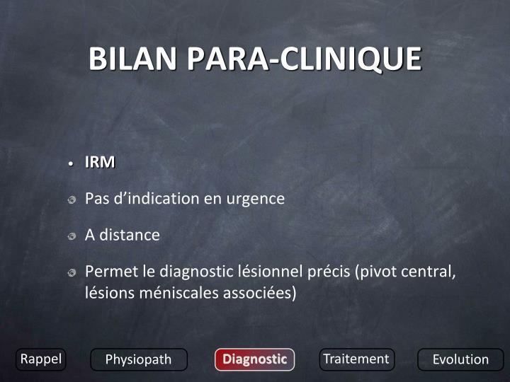 BILAN PARA-CLINIQUE