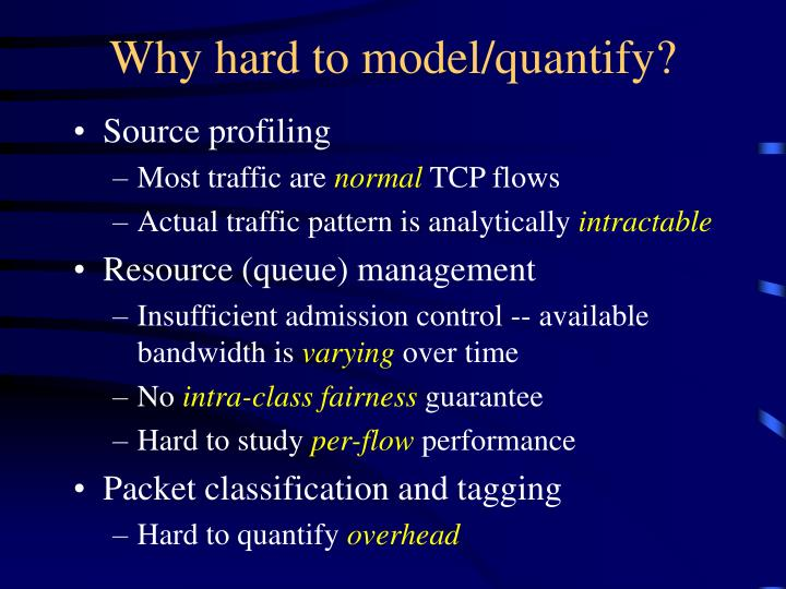 Why hard to model/quantify?