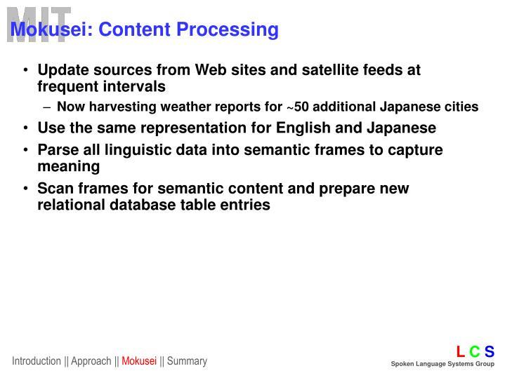 Mokusei: Content Processing