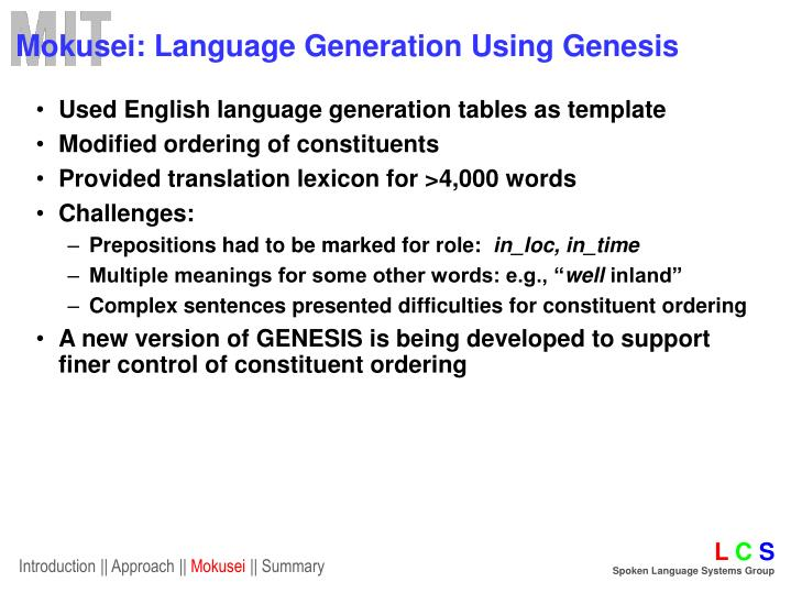 Mokusei: Language Generation Using Genesis