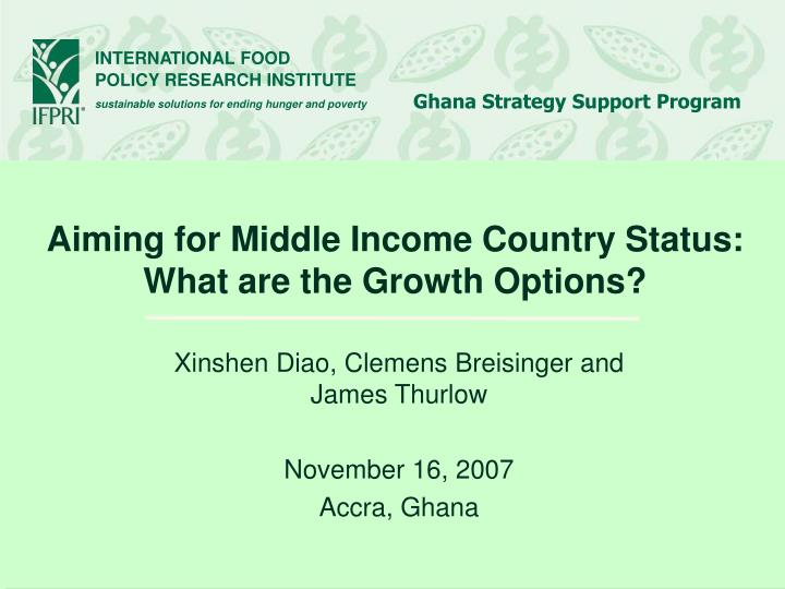 Aiming for middle income country status what are the growth options