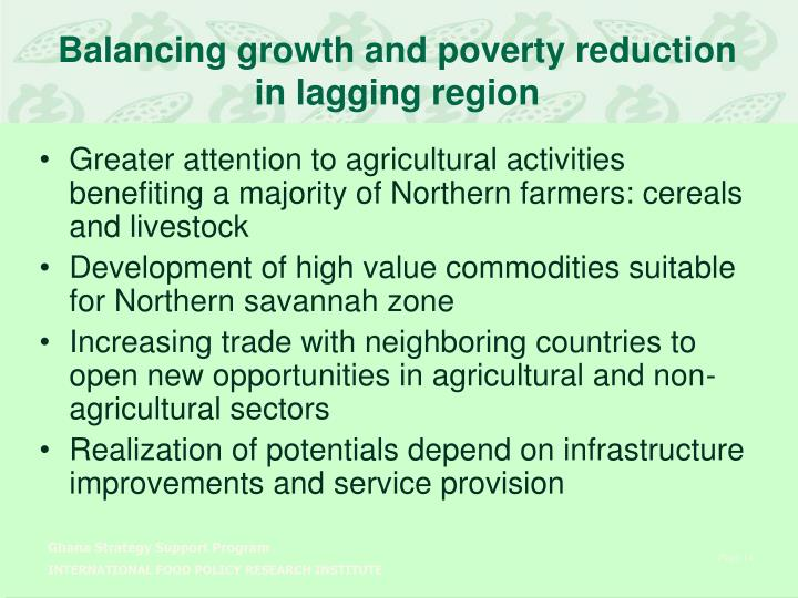 Balancing growth and poverty reduction in lagging region