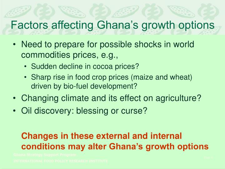 Factors affecting Ghana's growth options