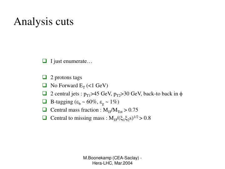Analysis cuts
