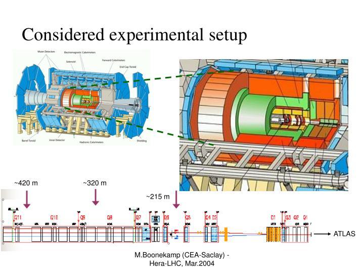 Considered experimental setup