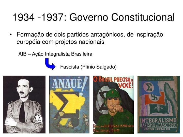 1934 -1937: Governo Constitucional