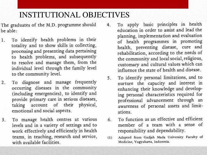 INSTITUTIONAL OBJECTIVES