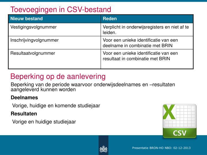 Toevoegingen in CSV-bestand
