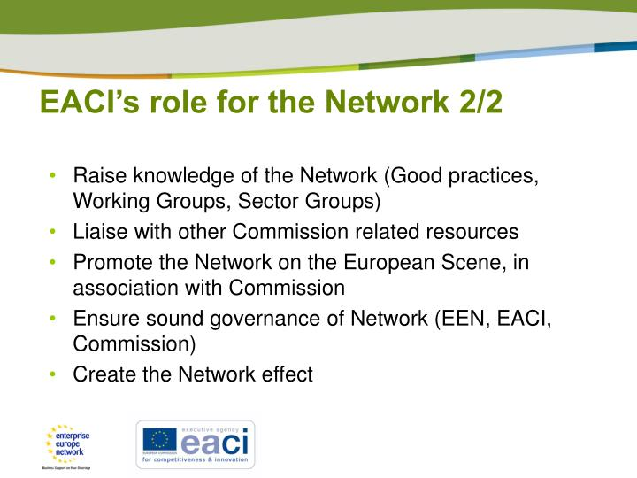 EACI's role for the Network 2/2