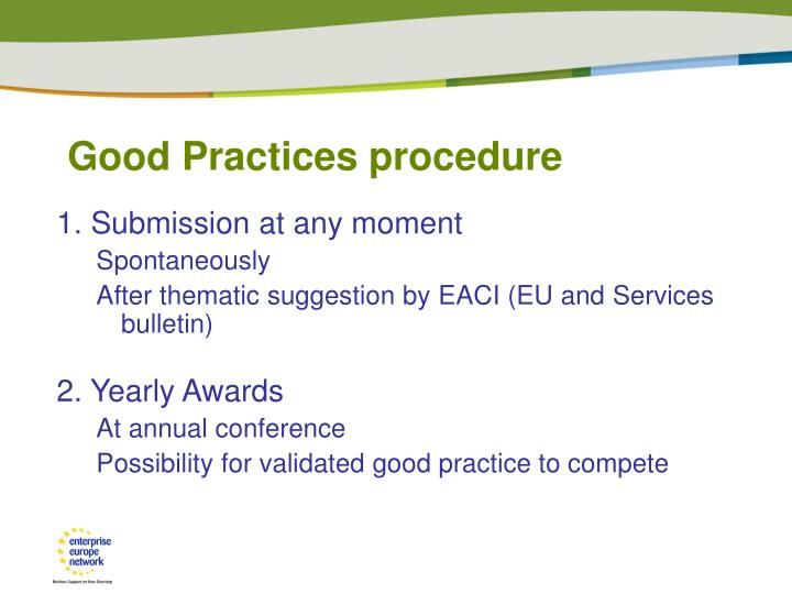 Good Practices procedure