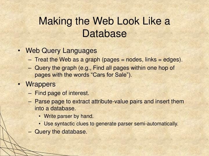 Making the Web Look Like a Database