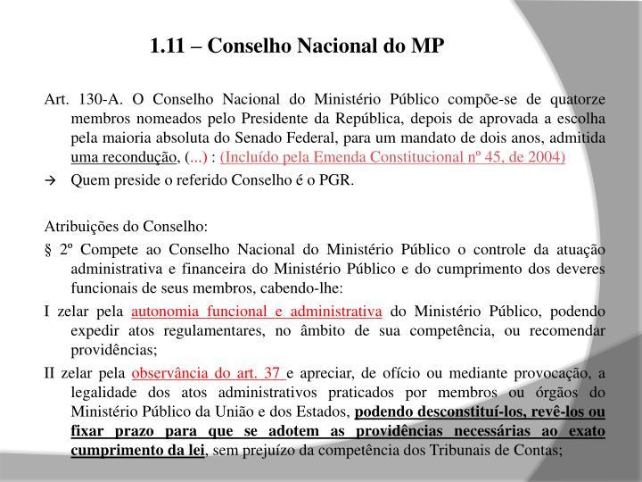 1.11 – Conselho Nacional do MP