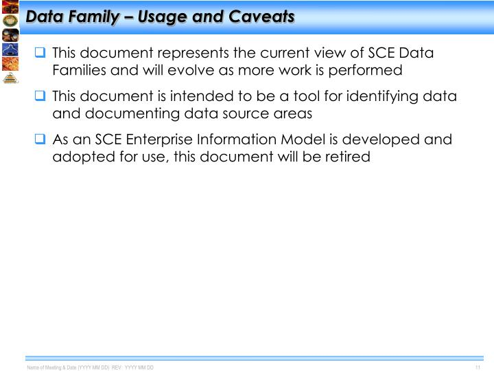 Data Family – Usage and Caveats