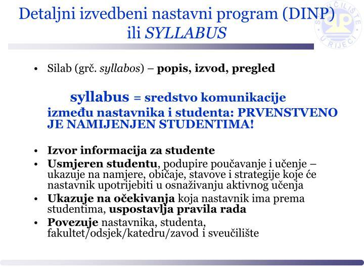 Detaljni izvedbeni nastavni program (DINP) ili