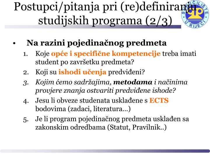 Postupci/pitanja pri (re)definiranju studijskih programa (2/3)