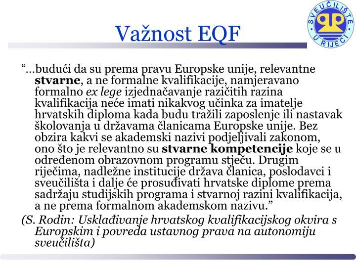 Važnost EQF
