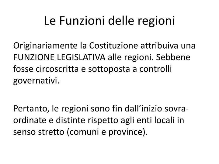 Le Funzioni delle regioni