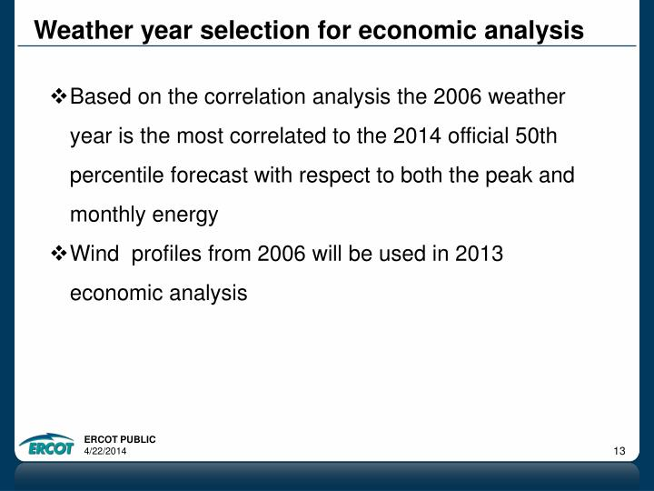 Weather year selection for economic analysis