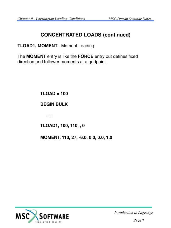 TLOAD1, MOMENT