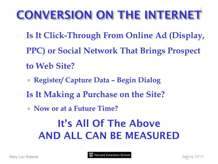 CONVERSION ON THE INTERNET