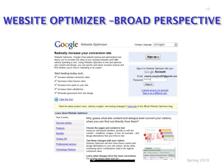 WEBSITE OPTIMIZER –BROAD PERSPECTIVE