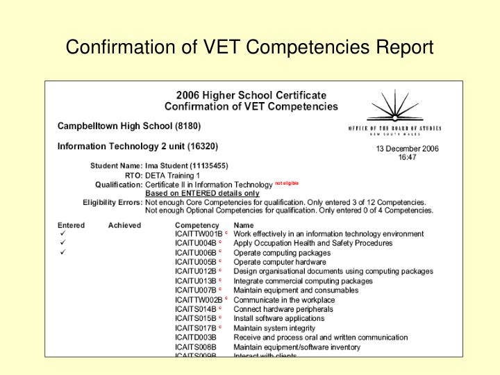 Confirmation of VET Competencies Report