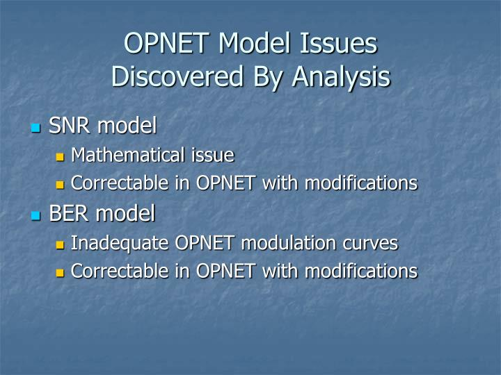 OPNET Model Issues