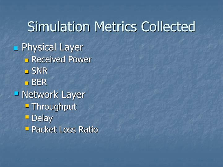 Simulation Metrics Collected